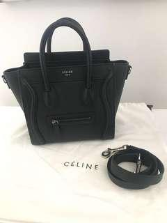 Celine Nano Luggage Tote Bag Grained Leather Black