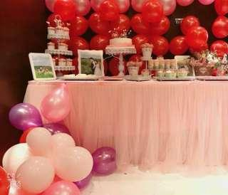 Light pink tulle table cloth