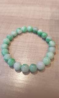 天然緬甸玉a貨顆顆飄陽綠卡7mm圓珠漂亮手串