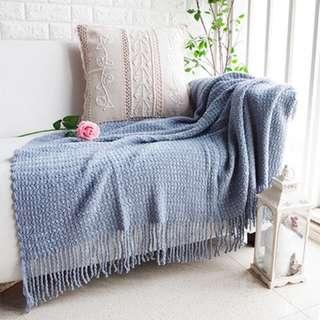 Knitted Throw Blanket Bluish Grey