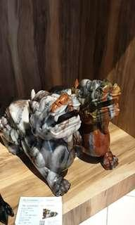 新疆三彩玉-巨无霸飞天貔貅一对(45cm ,20kg)