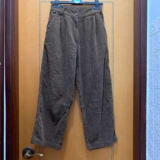 $80 韓國咖啡色燈芯絨長褲 (半橡筋腰圍可達35吋,長88cm)