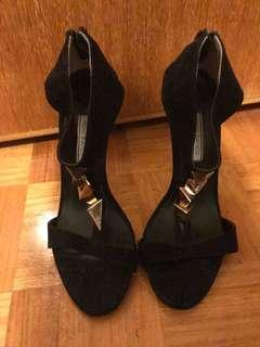Tony Bianco black heels with gold detail