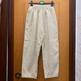 $80 韓國米白色燈芯絨長褲 (全橡筋腰圍可達36吋,長93cm)