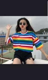 🚚 [PO] Uzzlang/harajuku oversized rainbow striped tee