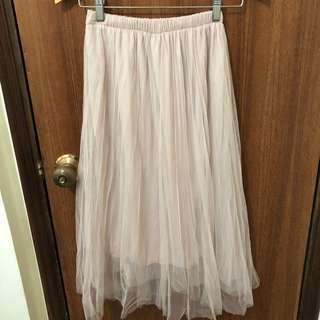 杏色雙層網紗裙