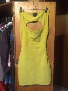 Sexy mustard body con dress