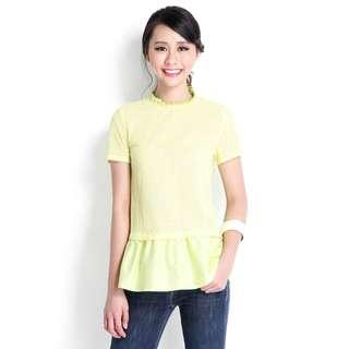 Lilypirates Eyelet Getaway Top In Lemon Yellow - Size S