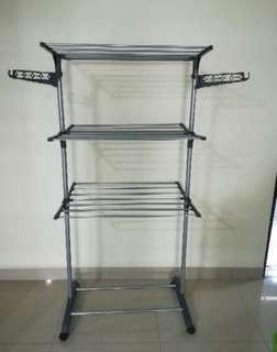 3 Tier grey foldable drying rack