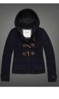 hollister 深藍色毛呢學院風牛角扣紅色蘇格蘭格紋內裡/牛角釦連帽外套