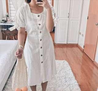 Korean white linen dress