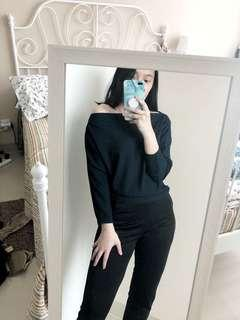 Atasan lengan panjang , sweater modelano , baju bikin kurus , lengam panjang , sabrina , baju sexy