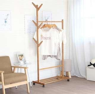 60CM Premium Wooden Coat Rack Free Standing With 8 Hooks Wood Tree Coat Rack Stand For Coats Hats Scarves Clothes