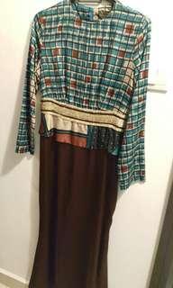 Jovian Turqoise and Brown Dress