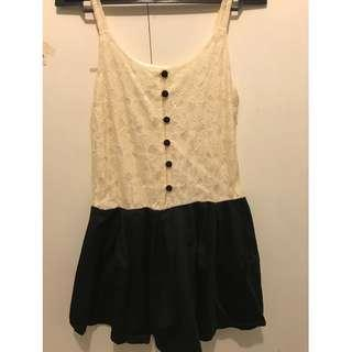 Dress cream black / mini dress / dress remaja