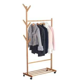80CM Premium Wooden Coat Rack Free Standing With 8 Hooks Wood Tree Coat Rack Stand For Coats Hats Scarves Clothes