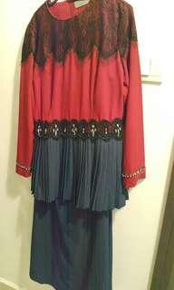 Jovian Red and Blue Kurung