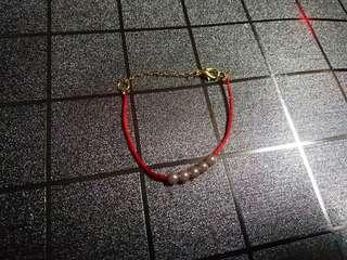 仿珍珠紅繩手鏈#手鍊**bracelet