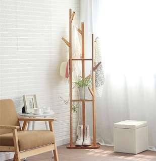 Creative Wood Floor Standing Coat/Hat Rack, Solid Wood in Pine Finish, triangle Hook Coat Rack-intl