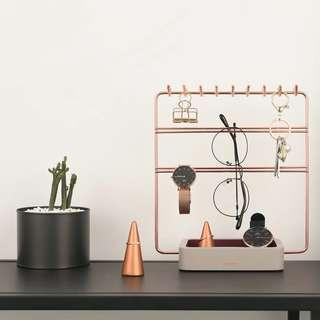 Nordic Style Rose Gold Jewellery Rack Display Stand Make Up Organiser
