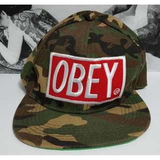 *二手 美國潮牌 OBEY 可調式 電繡 大LOGO 迷彩 軍用 潮流 嘻哈 棒球帽 鴨舌帽 休閒帽 男女皆可戴*