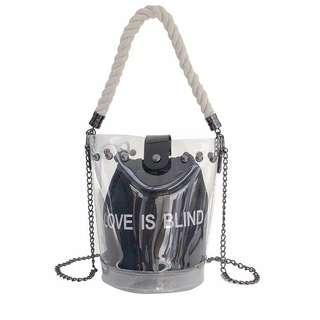Tas Love is Blind Bag PVC Transparan Wanita