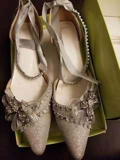 Wedding Shoes 低跟閃石銀結婚鞋