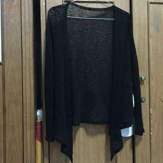Outer black cardigan mesh transparent transparan luaran wanita hitam size XS S