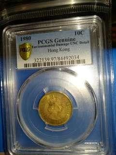 1980年膽幣PCGS評级1毫一毫壹毫銅幣