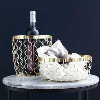Mesh Copper Gold Basket Decor