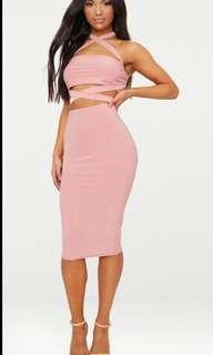 PLT rose slinky midi skirt