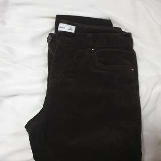 bossini dark brown velvet jeans