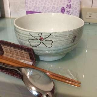 🚚 手造 白雪櫻花 松村窯 陶瓷 餐碗/餐具組