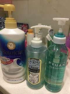 Pyuan shampoo, Diane shampoo, bouncia 沐浴露