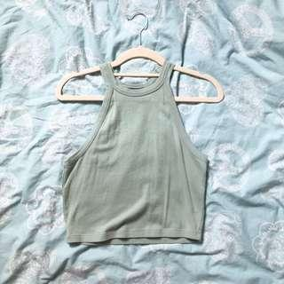 🚚 BRAND NEW FOREVER 21 F21 Sage Green Halter Tank Top