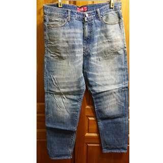 *二手 REMIX TAIPEI LOGO 刷色 水洗 直筒 牛仔褲 滑板褲 硬挺 L號 工作褲*