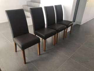 4x genuine leather dining chairs brown brand new