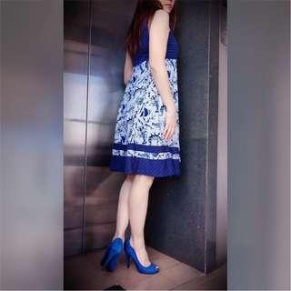 Midi Batik Navy Dress
