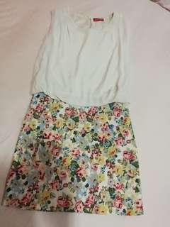 Floral dress with white chiffon top
