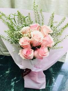 ❤情人節玫瑰花束❤ fresh pink roses Valentine's Day gift 鮮粉紅玫瑰花