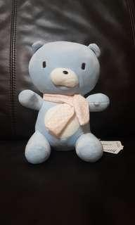 Miniso Blue Teddy Bear Stuffed Toy With Pink Scarf