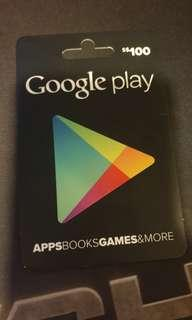 100 dollar Google play gift card
