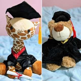 Graduation Bear & Giraffe Stuffed Toys