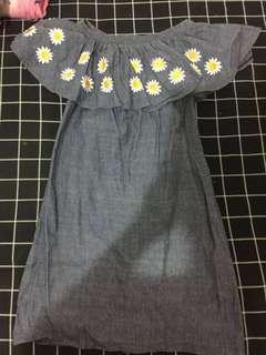 Daisy Denim Off-Shoulder Dress