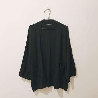 🚚 外套 | ZARA 匈牙利 歐洲帶回 黑色 針織 外套 針織衫 日式和風 浴衣外套設計 S號 Knit