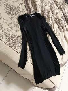 🚚 黑色拼接洋裝 H