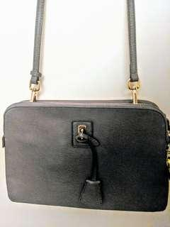 GREY Dual Zip Clutch / Sling Bag with Gold Hardware