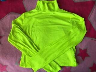 Neon green turtle neck