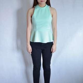 High neck Peplum top