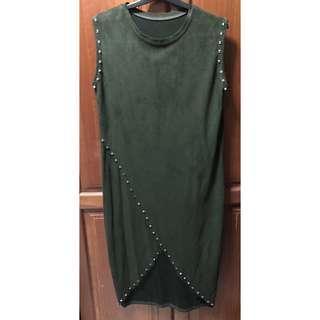 Army Green Stud Suede Wrap Midi Dress